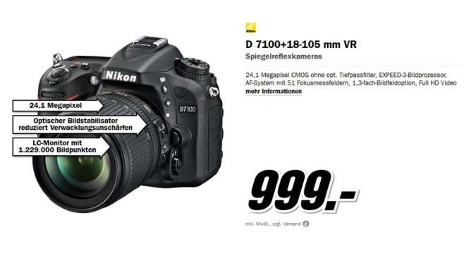 Nikon D7100 Kit 18-105 mm © Media Markt