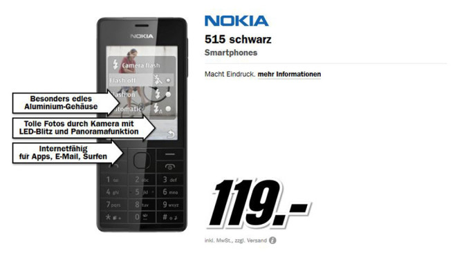 Nokia 515 Black © Media Markt
