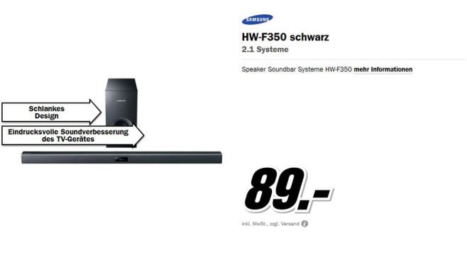 Samsung HW-F350 ©Media Markt