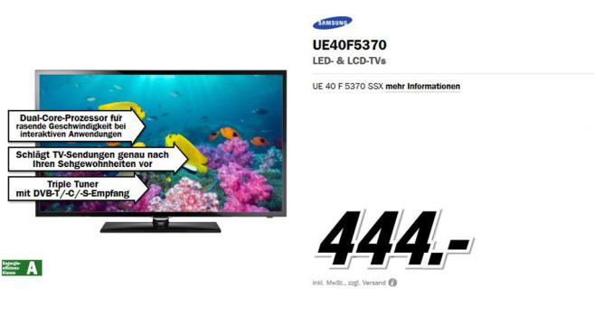 Samsung UE40F5370 ©Media Markt