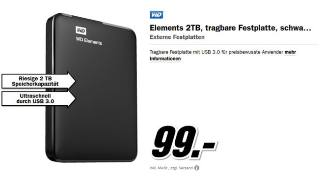 Western Digital Elements Portable 2TB © Media Markt