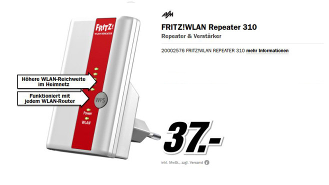 AVM Fritz!WLAN Repeater 310 © Media Markt