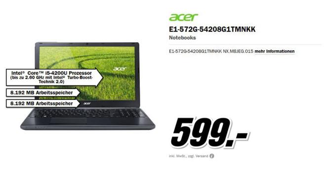 Acer Aspire E1-572G-54208G1TMnkk ©Media Markt