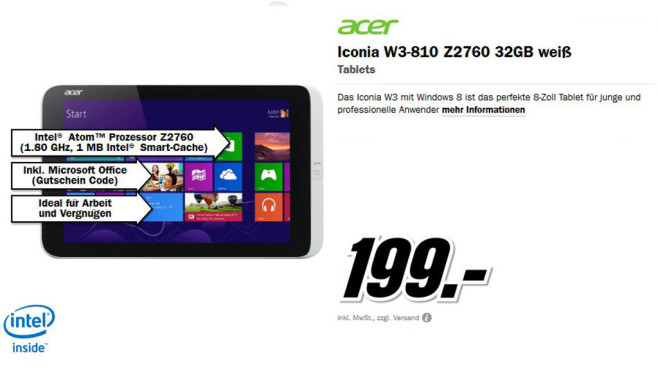 Acer Iconia W3-810 32GB © Media Markt