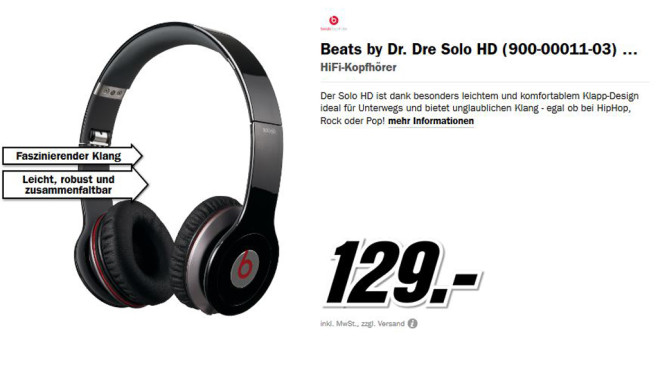 Beats By Dr. Dre Solo HD mit Control Talk © Media Markt