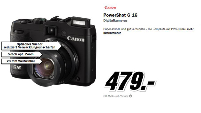 Canon PowerShot G16 © Media Markt