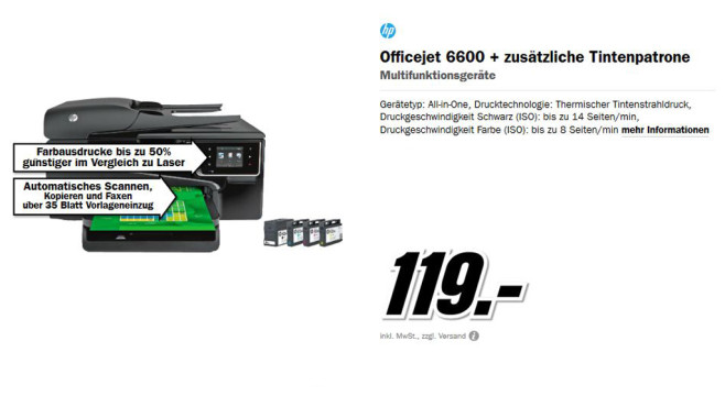 Hewlett-Packard HP Officejet 6600 © Media Markt