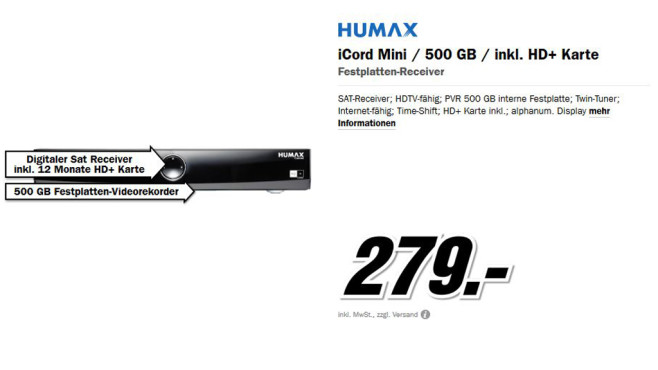Humax iCord Mini 500GB © Media Markt