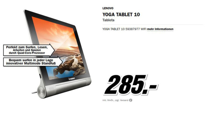 Lenovo Yoga Tablet 10 WiFi © Media Markt