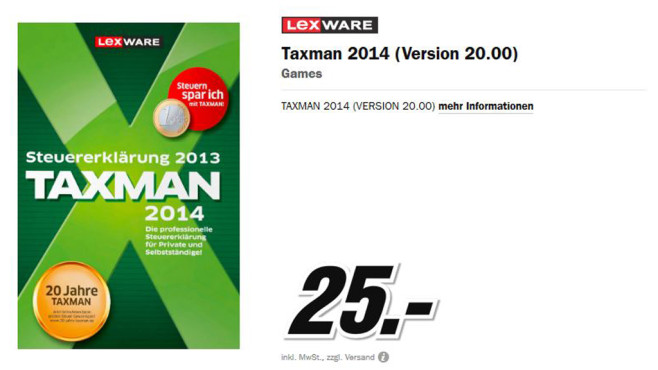 Lexware Taxman 2014 ©Media Markt