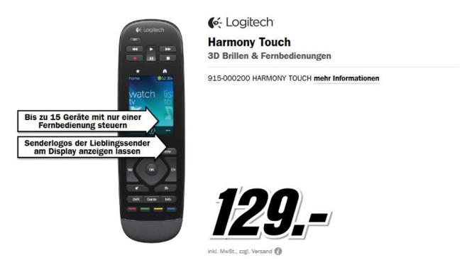 Logitech Harmony Touch ©Media Markt