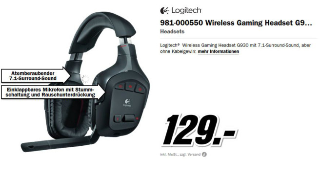 Logitech Wireless Gaming Headset G930 © Media Markt