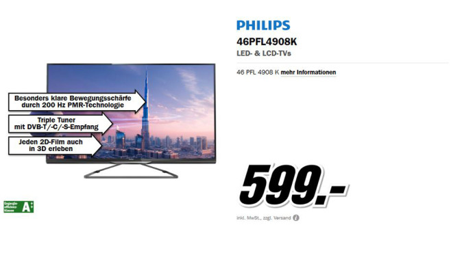Philips 46PFL4908K © Media Markt