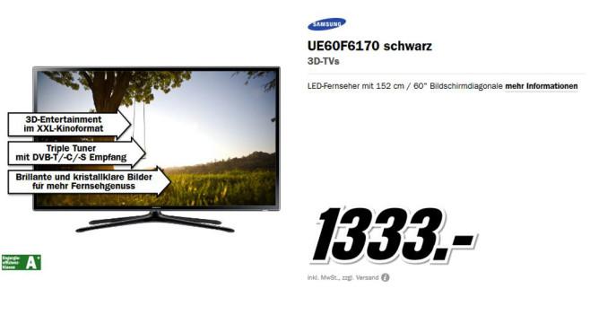 Samsung UE60F6170 ©Media Markt