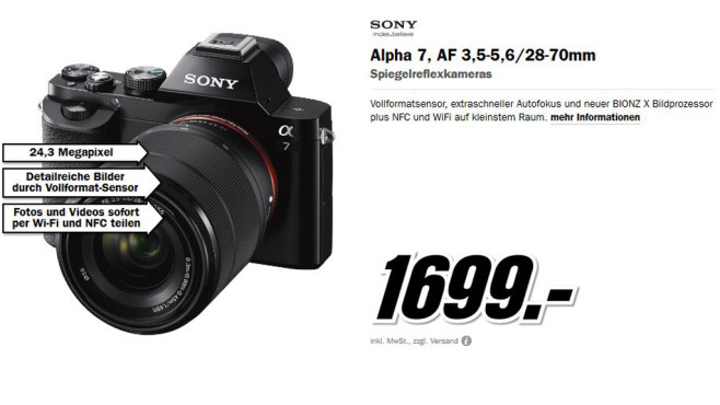Sony Alpha a7 Kit 28-70 mm (ILCE-7K) © Media Markt