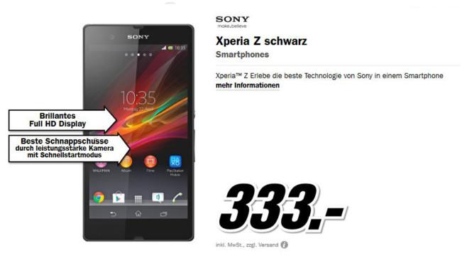 Sony Xperia Z Schwarz ©Media Markt