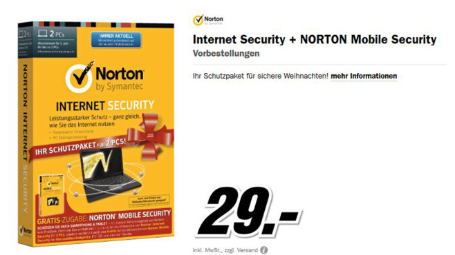 Symantec Norton Internet Security 2014 + Mobile Security 3.0 © Media Markt