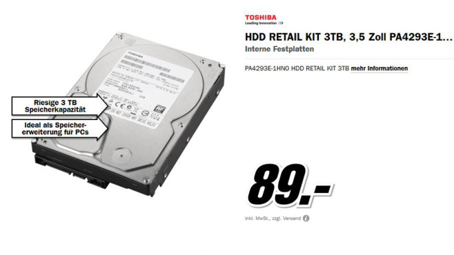 Toshiba Retail Kit SATA 3TB © Media Markt