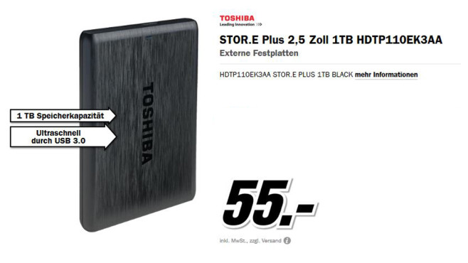 Toshiba Stor.e Plus 1TB © Media Markt