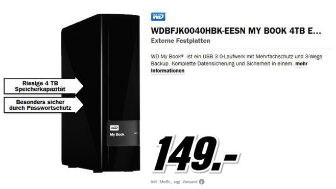 Western Digital My Book USB 3.0 4TB © Media Markt