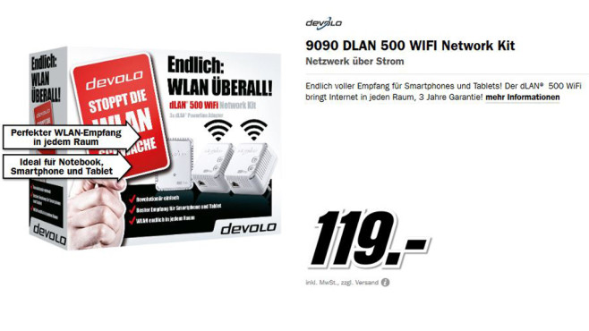 devolo dLAN 500 WiFi Network Kit © Media Markt