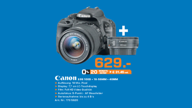 Canon EOS 100D Kit 18-55 mm + 40 mm © Saturn