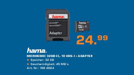 Hama microSDHC 32 GB Class 10 (00108089) ©Saturn