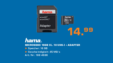Hama microSDHC HighSpeed Gold 16GB Class (00108088) © Saturn