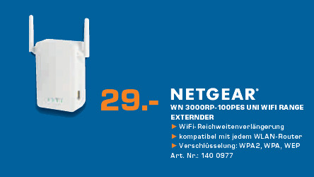 Netgear Universelle Wi-Fi-Reichweiten-Verlängerung (WN3000RP) ©Saturn