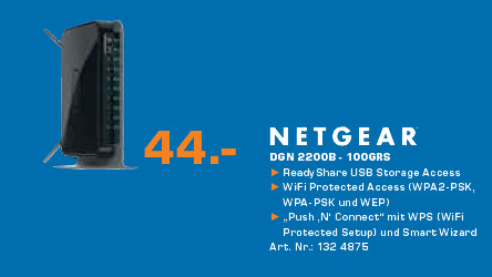 Netgear Wireless-N 300 Router + DSL Modem (DGN2200B) © Saturn
