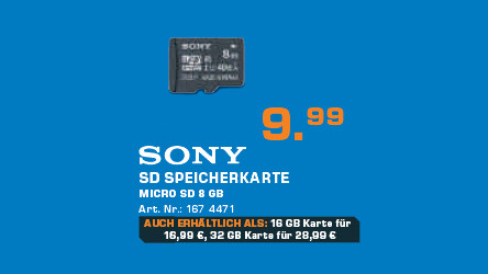 Sony MicroSDHC 8GB Class 10 UHS-I (SR8UYA) ©Saturn
