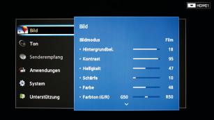 Bildeinstellungen Samsung UE40F6170 ©COMPUTER BILD
