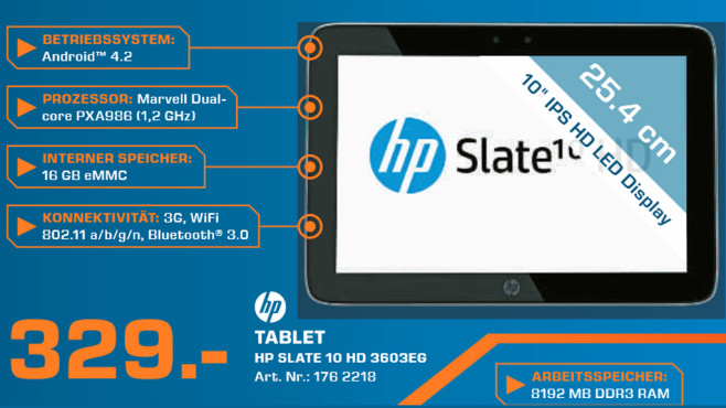 Hewlett-Packard HP Slate 10 HD 3603eg (F4X13EA) © Saturn