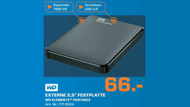 Western Digital Elements Portable 1TB (WDBUZG0010BBK) © Saturn