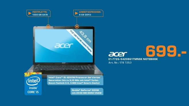 Acer Aspire E1-772G-54208G1TMsk (NX.MHLEV.002) © Saturn