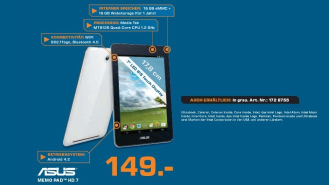 Asus MeMO Pad HD 7 © Saturn