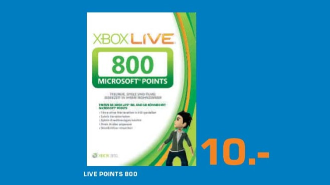 Microsoft Xbox Live 800 Points Card © Saturn