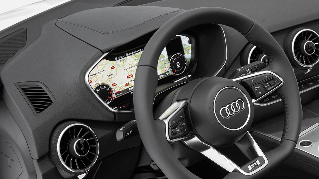 connected car lcd bildschirm statt tacho im audi tt. Black Bedroom Furniture Sets. Home Design Ideas