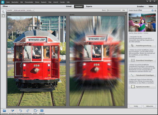 Der Zoom-Effekt von Photoshop Elements © Sven Schulz