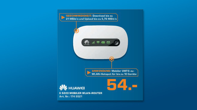 Huawei Mobiler 3G Hotspot (E5220) ©Saturn