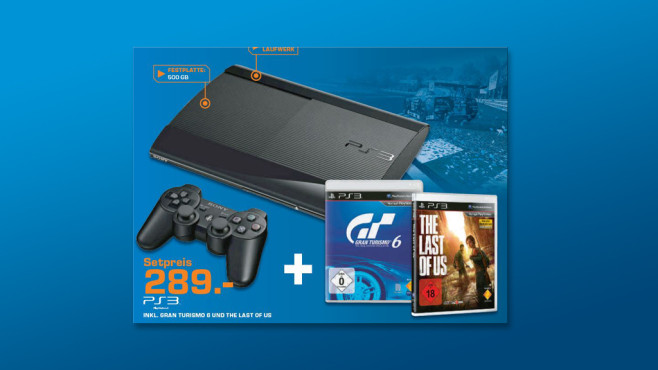 Sony PlayStation 3 Super slim 500GB + The Last of Us + Gran Turismo 6: Anniversary Edition © Saturn