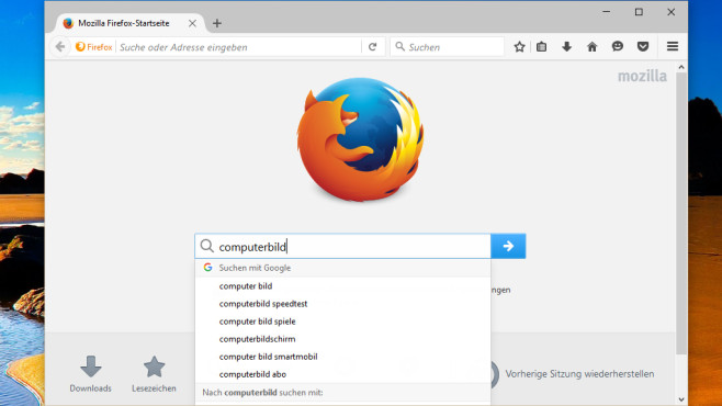 Firefox: Browser mit Suchvorschlägen ©COMPUTER BILD
