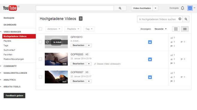Im Videomanager erhalten Sie eine Übersicht aller hochgeladener Clips ©Google Inc.