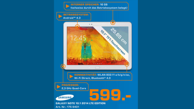 Samsung Galaxy Note 10.1 16GB LTE weiß (2014 Edition) ©Saturn