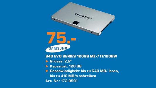 Samsung MZ-7TE120BW 120GB SSD SATA 6 BASIC 840 EVO ©Saturn