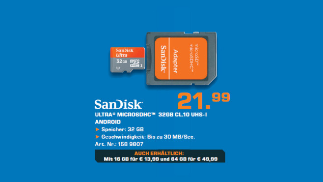 Sandisk Mobile Ultra microSDHC 32GB Class 10 UHS-I © Saturn