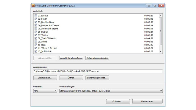 Free Audio CD to MP3 Converter © COMPUTER BILD