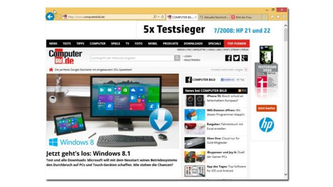 Internet Explorer 11 ©COMPUTER BILD