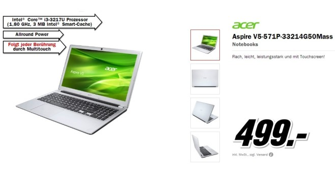 ACER Aspire V5-571P-33214G50Mass © Media Markt