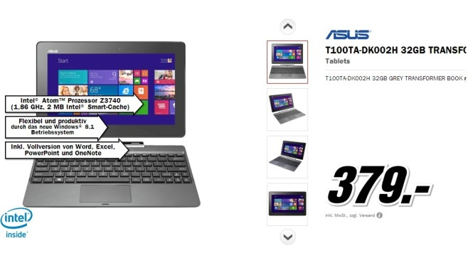 Asus Transformer Book T100TA-DK002H © Media Markt
